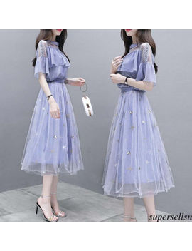 Women Tulle A Line High Waist Pleat Bubble Skirt Shirt Two Piece Prom Club Dress by Supersellsn