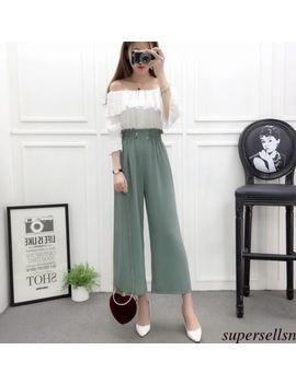 Women Chiffon Wide Leg Elastic High Waist Tunic Straight Trousers Cropped Pants by Supersellsn