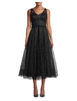 Huntleigh Pleated Midi Dress W/ Velvet Polka Dots by Shoshanna