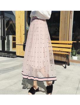 Hot Women Tulle Polka Dot A Line Elastic High Waist Bubble Maxi Long Skirt Dress by Manualmill