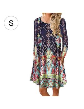 Fashion Women Autumn Long Sleeve Pullover Floral Elegant Ladies Dress Skirt by Unbranded