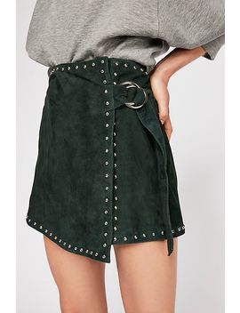 Emerald Studded Suede Mini Skirt by Free People