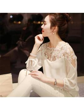 Summer Womens Long Sleeve Shirt Casual Lace Blouse Loose Chiffon Tops Shirt by Unbranded