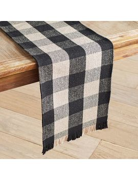 "Black &Amp; Ivory Check 72"" Table Runner by Pier1 Imports"