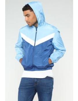Al Windbreaker Jacket   Blue/Combo by Fashion Nova