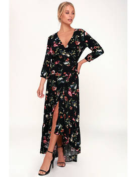 Immera Black Floral Print High Low Wrap Dress by Lulu's