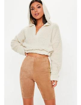 Cream Borg V Front Sweatshirt by Missguided
