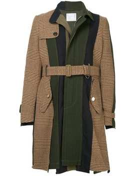Sacaicontrast Panel Belted Coathome Men Sacai Clothing Single Breasted Coats by Sacai