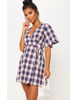 Navy Check Tea Dress by Prettylittlething