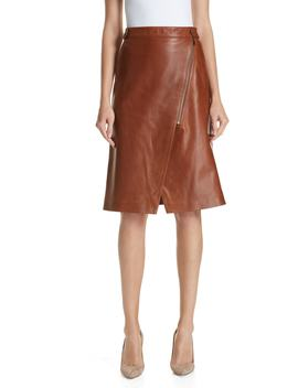 Faux Wrap Leather Skirt by Nordstrom Signature