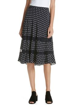 Lace Trim Dot Silk Skirt by Lewit