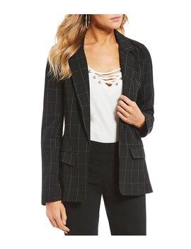 Menswear Windowpane Plaid Suit Blazer by Takara