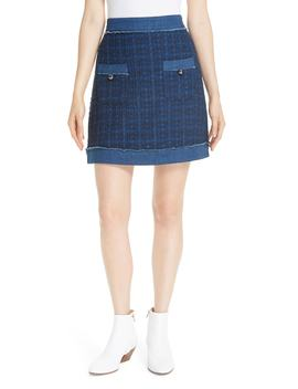 Kate Spade New Yoke Denim Trim Tweed Skirt by Kate Spade New York