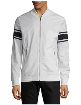 Striped Sleeve Bomber Jacket by Karl Lagerfeld