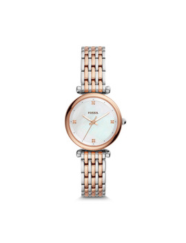carlie-mini-three-hand-two-tone-stainless-steel-watch by fossil