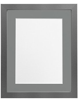 Frames By Post H7 Picture Photo Frame, Wood With Plastic Glass, Silver With Dark Grey Mount, 20 X 16 Image Size 16 X 12 Inch by Frames By Post