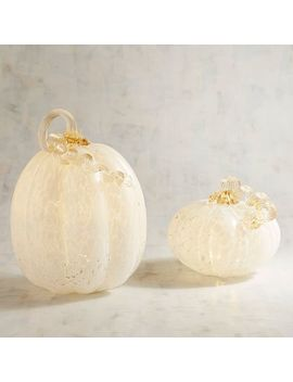 White Led Light Up Confetti Glass Pumpkins by Gracious Gatherings Collection
