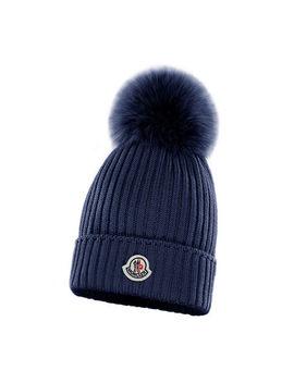 Kids' Rib Knit Beanie Hat W/ Fur Pompom by Moncler
