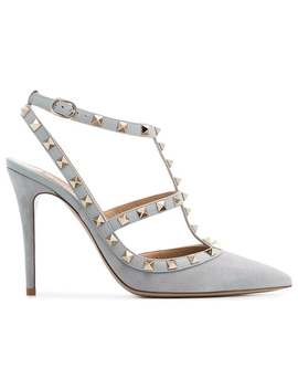 Valentinogrey Rockstud 100 Suede Leather Pumpshome Women Valentino Shoes Pumps by Valentino