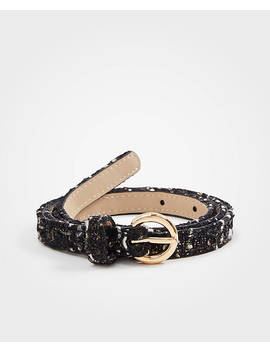 Metallic Tweed Skinny Belt by Ann Taylor