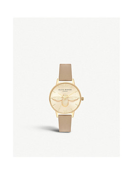 Ob16 Am150 Midi 3 D Bee Gold Plated And Leather Watch by Olivia Burton