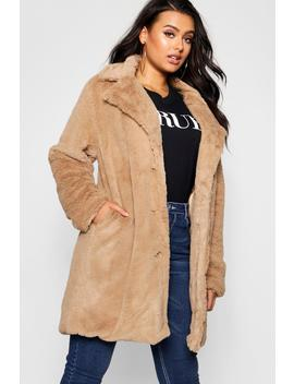 Plus Collared Faux Fur Coat by Boohoo