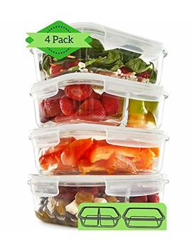 1 & 2 Compartment Glass Meal Prep Containers (4 Pack, 1000 Ml)   Glass Lunch Containers | Food Storage Containers With Lids | Food Prep Containers | Bento Box | Portion Control Reusable Dishes by Fit, Strong & Healthy
