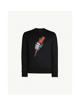 Lightning Bolt Print Neoprene Sweatshirt by Neil Barrett