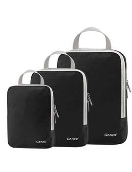 Set Of 3 Gonex Packing Cubes, Clothing Compression Cube Extensible Storage Bags Organizers(Black) by Gonex