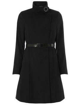 Black Longline Funnel Neck Coat by Dorothy Perkins