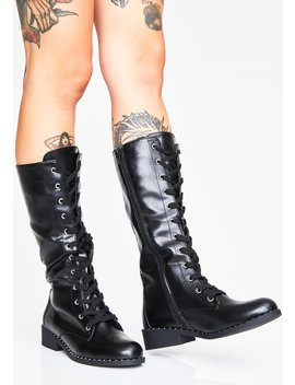 Mean Business Combat Boots by Qupid