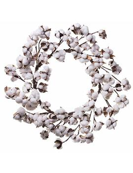 Red Co. Farmhouse Full White Fluffy Cotton Boll Wreath   Home Decor For Front Door  22 Inches by Red Co.