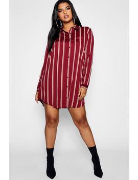 Plus Stripe Shirt Dress by Boohoo