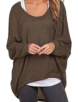 Dutebare Women Oversized Baggy Shirts Batwing Sleeve Pullover Tops Casual Knit Blouse by Dutebare