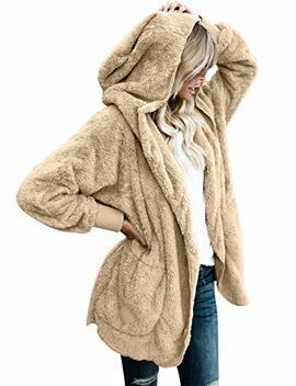 Vetinee Women Casual Fuzzy Fleece Hooded Cardigan Pocket Faux Fur Outerwear Coat by Vetinee