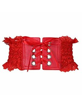 Colorful House Women's Stylish Buckle Elastic Wide Corset Waistband Belt With Ribbon by Colorful House