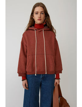 Pinstriped Hooded Sweatshirt Rust Orange by Acne Studios