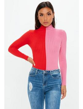 Red Spliced Ribbed High Neck Knitted Bodysuit by Missguided