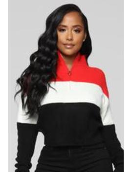 Colorblock Trippin' Sweater   Red/Combo by Fashion Nova