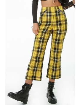 High Rise Plaid Capri Pants by Forever 21