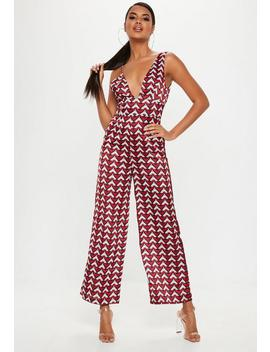 Red Geo Print Asymmetric Jumpsuit by Missguided