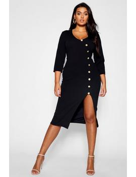 Plus Gold Button Wrap Midi Dress by Boohoo