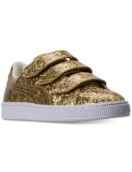 Women's Basket Strap Glitter Casual Sneakers From Finish Line by Puma