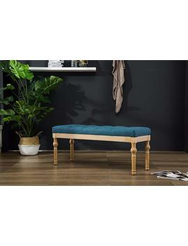 Roundhill Furniture Cb161 Bu Habit Solid Wood Button Tufted Dining Bench, Blue by Roundhill Furniture