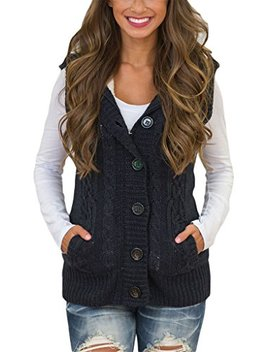 Blibea Womens Sleeveless Hoodies Sweater Vest Button Cable Knit Cardigan Coats by Blibea