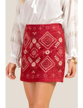 Laurel Embroidered Faux Suede Skirt by Francesca's