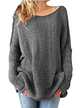 Haogo Womens Round Neck Long Sleeve Loose Knitted Pullover Sweater by Haogo