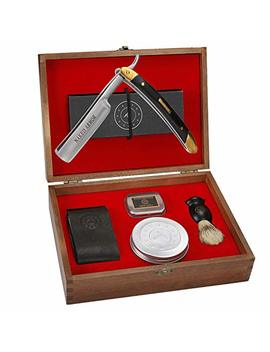 Straight Razor Kit ~ Amazing. Everything You Need In One Box   Cutthroat Shaving Sharp Edge Stainless Steel Blade + Leather Strop, Soap,... by Naked Armor