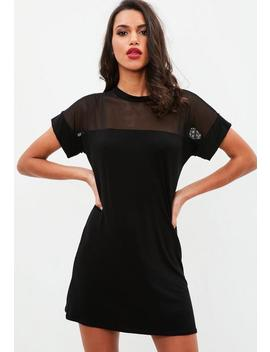 Black Mesh T Shirt Dress by Missguided