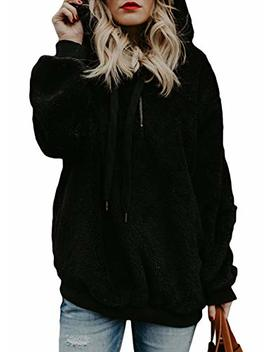 Elapsy Womens Fuzzy Casual Loose Pullover Sweatshirt Hooded With Pockets Outwear by Elapsy
